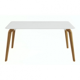 Bureau simple Woodleg blanc en 160x80