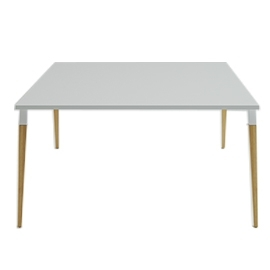 Table de réunion Good Wood blanc en 150x150 avec top access