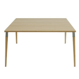 Table de réunion Good Wood bois en 150x150 avec top access