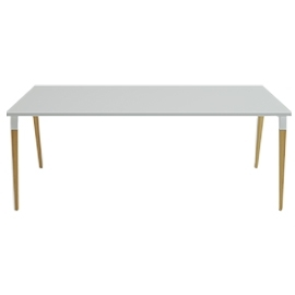 Table de réunion Good Wood blanc en 200x100 avec top access