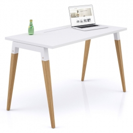 Bureau simple Good Wood blanc en 120x70