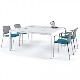 Table de réunion Slim blanche 150x150 avec top access